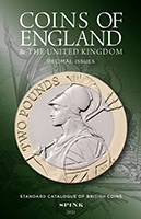 Picture of the cover of the catalogue: David Fletcher (editor); 2021. Coins of England & the United Kingdom : Decimal Issues (7th edition). Spink & Son, London, United Kingdom.