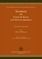 Picture of the cover of the catalogue: Oliver D. Hoover; 2018. The Handbook of Greek Coinage Series / Volume 1. Handbook of Coins of Italy and Magna Graecia : Sixth to First Centuries BC. Classical Numismatic Group, Lancaster, Pennsylvania - London, United Kingdom.