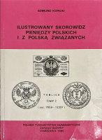 Picture of the cover of the catalogue: Edmund Kopicki; 1995. Ilustrowany skorowidz pieniedzy polskich i z Polska związanych / Część 2.1. Teksty Poz. 7059-12338. Polskie Towarzystwo Numizmatyczne - Zarząd Główny, Warsaw, Poland.