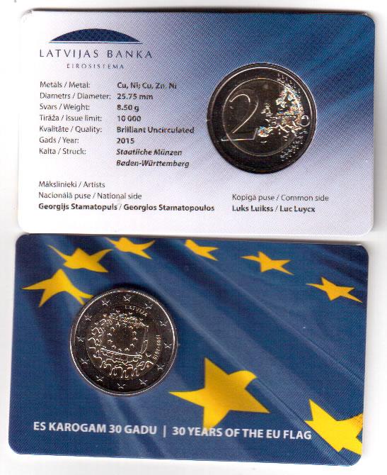 "2015 Latvia 2 Euro Uncirculated Coin /""European Union EU Flag 30 Years/"""