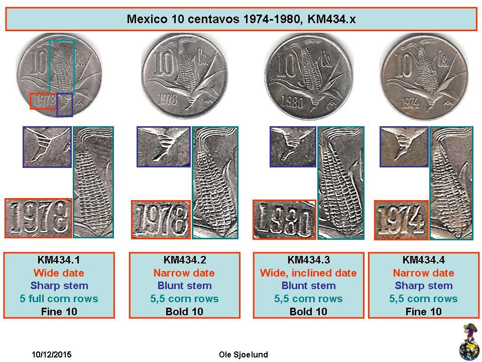 KM434.1 Mexico 1979 10 Centavos Uncirculated