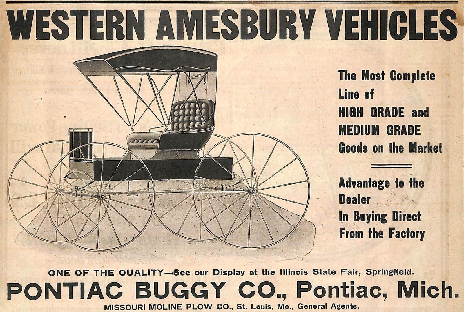 Pontiac Buggy Co  - Western Amesbury Line store card - * Tokens