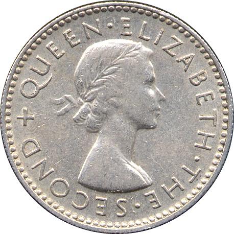 BIN OOO AU//UNC FREE SHIP Great Coin 1964 NEW ZEALAND 6 PENCE