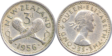 New Zealand 3 pence threepence 1965 unc