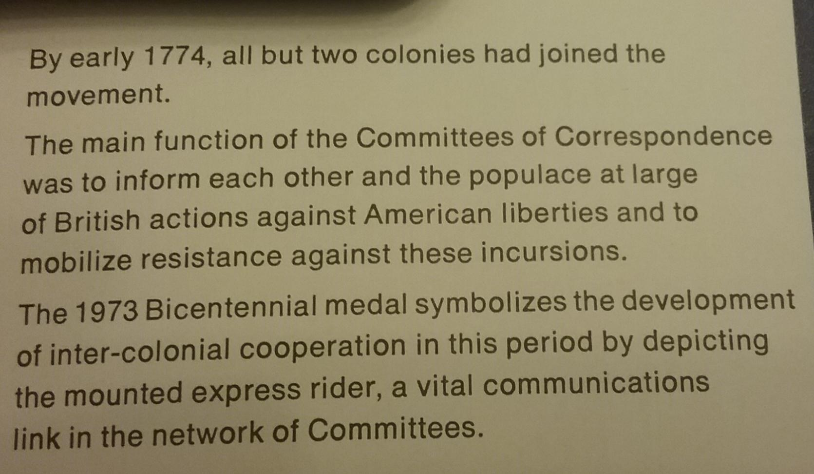 American Revolution UNC MEDAL Committees Of Correspondence To Unite The Colonies