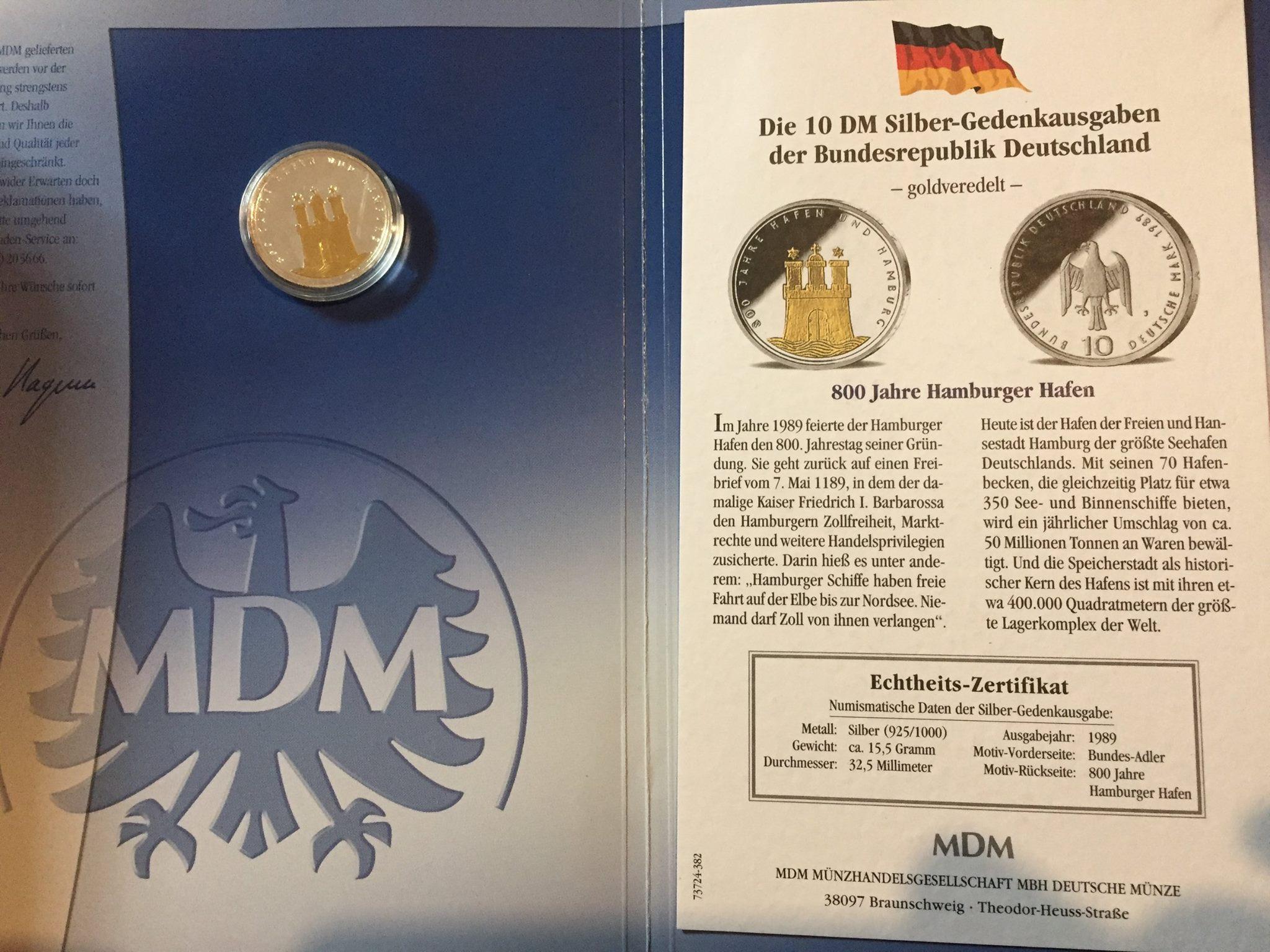 10 Deutsche Mark 800 Years Hamburg Germany Federal Republic