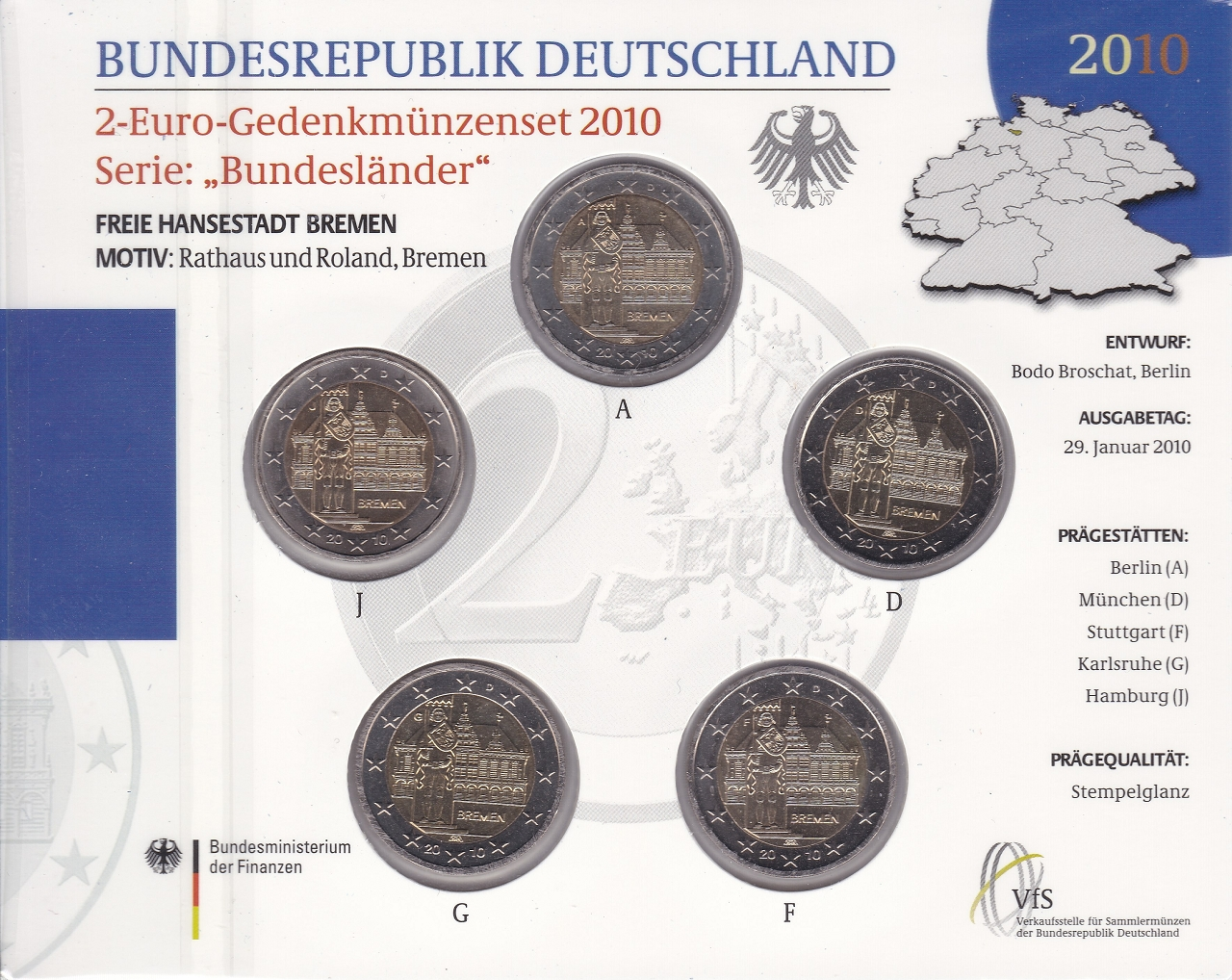2 Euro Bundesländer Bremen Germany Federal Republic Numista