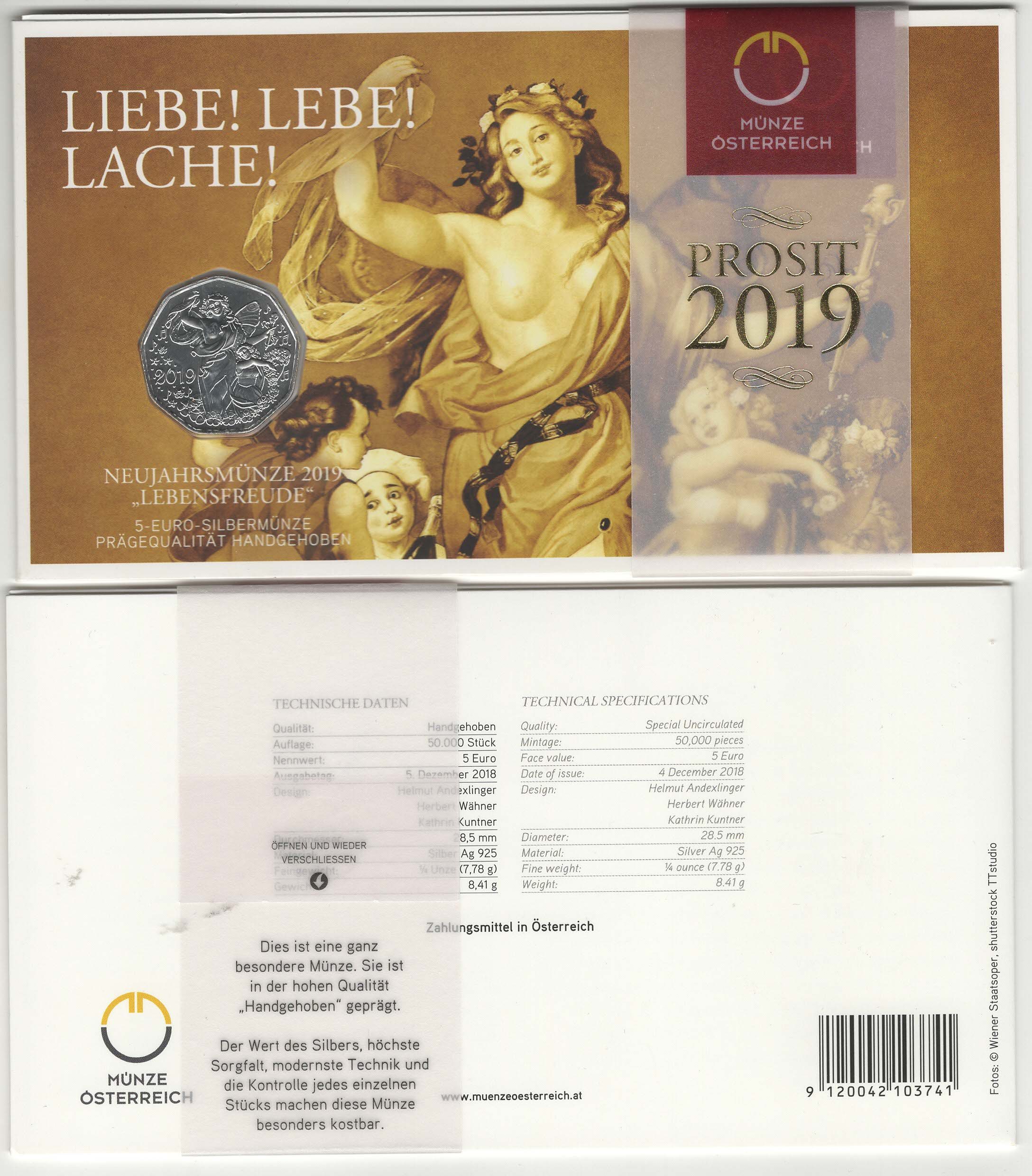 AUSTRIA 5 EURO NEW YEAR COIN 2019 UNC