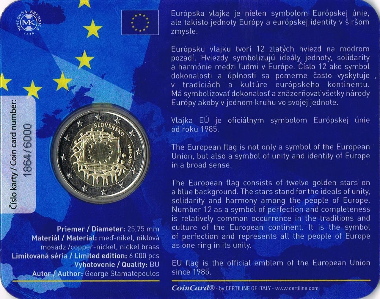 ITALY NEW ISSUE BIMETAL 2 EURO UNC COIN 2015 YEAR 30th ANNI EU FLAG