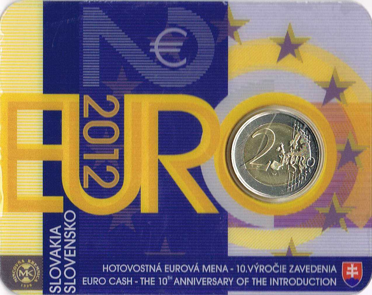 """2012 Spain 2 Euro Uncirculated Coin /""""10 Years of the Euro/"""""""