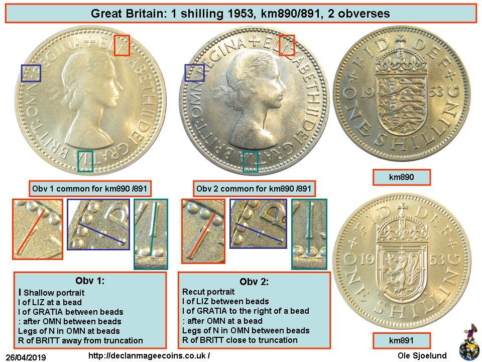 Elizabeth II English Great Britain 1953-1 Shilling Copper-Nickel Coin Q