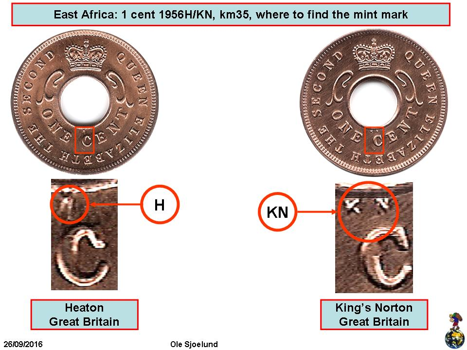 Ring Size  4 12 and Double Sided Petite 1956 East Africa 1 Cent Coin Ring