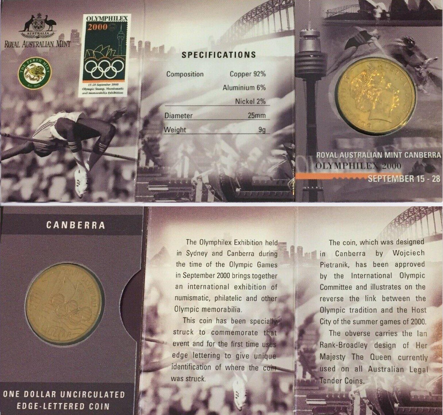 /'C/' Canberra Mintmark 2000 Olymphilex $1 Unc Coin