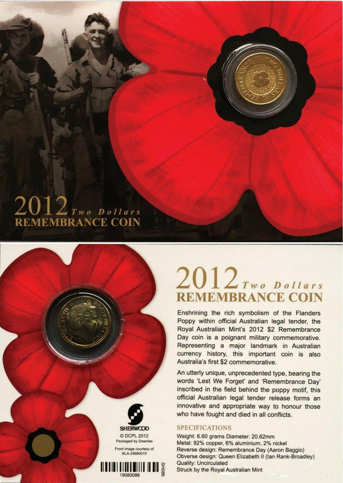 Elizabeth II Australia 2012-2 Dollars Coin Remembrance Q Poppy flower