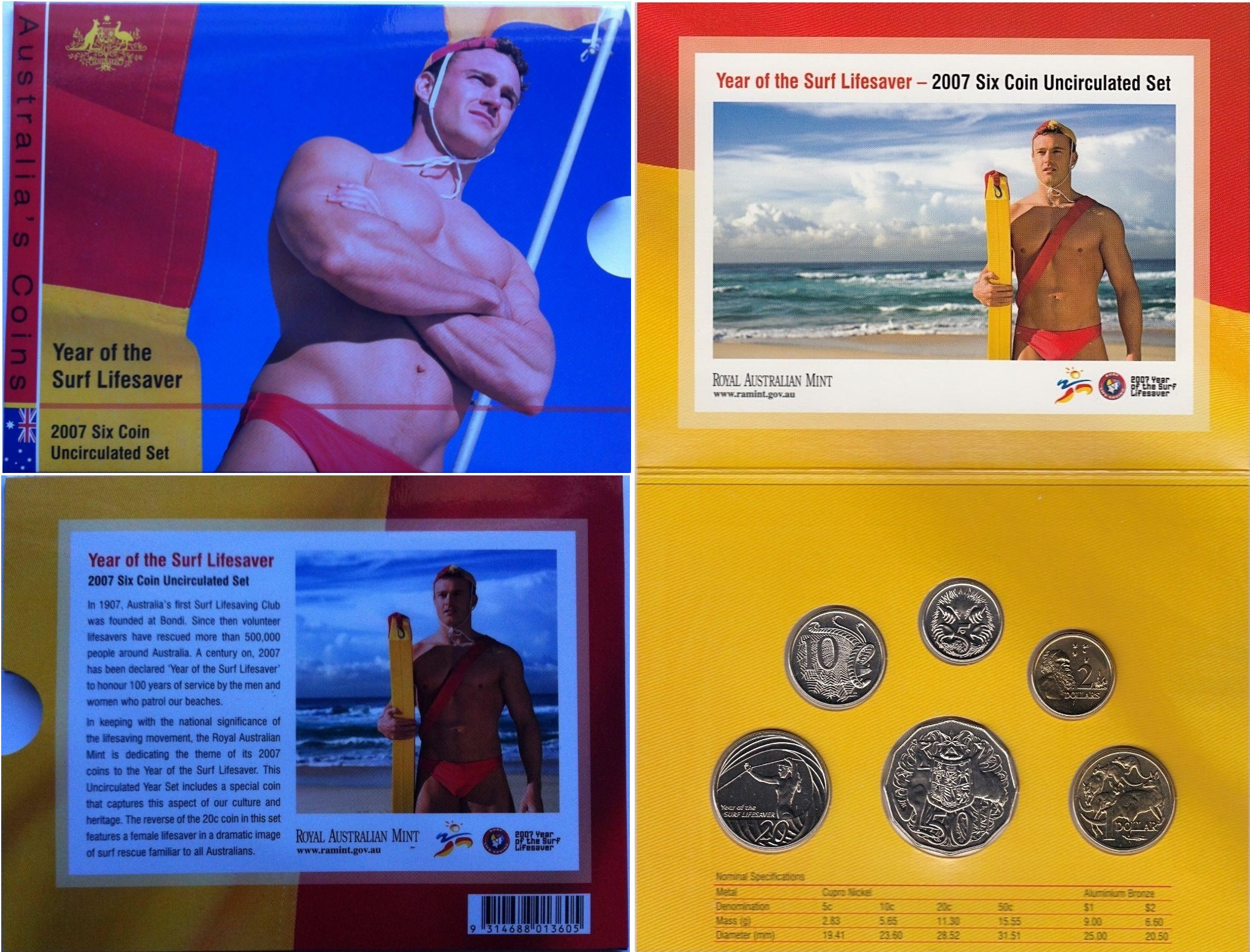 2007 ROYAL AUST MINT YEAR OF THE SURF LIFESAVER SIX COIN PROOF SET