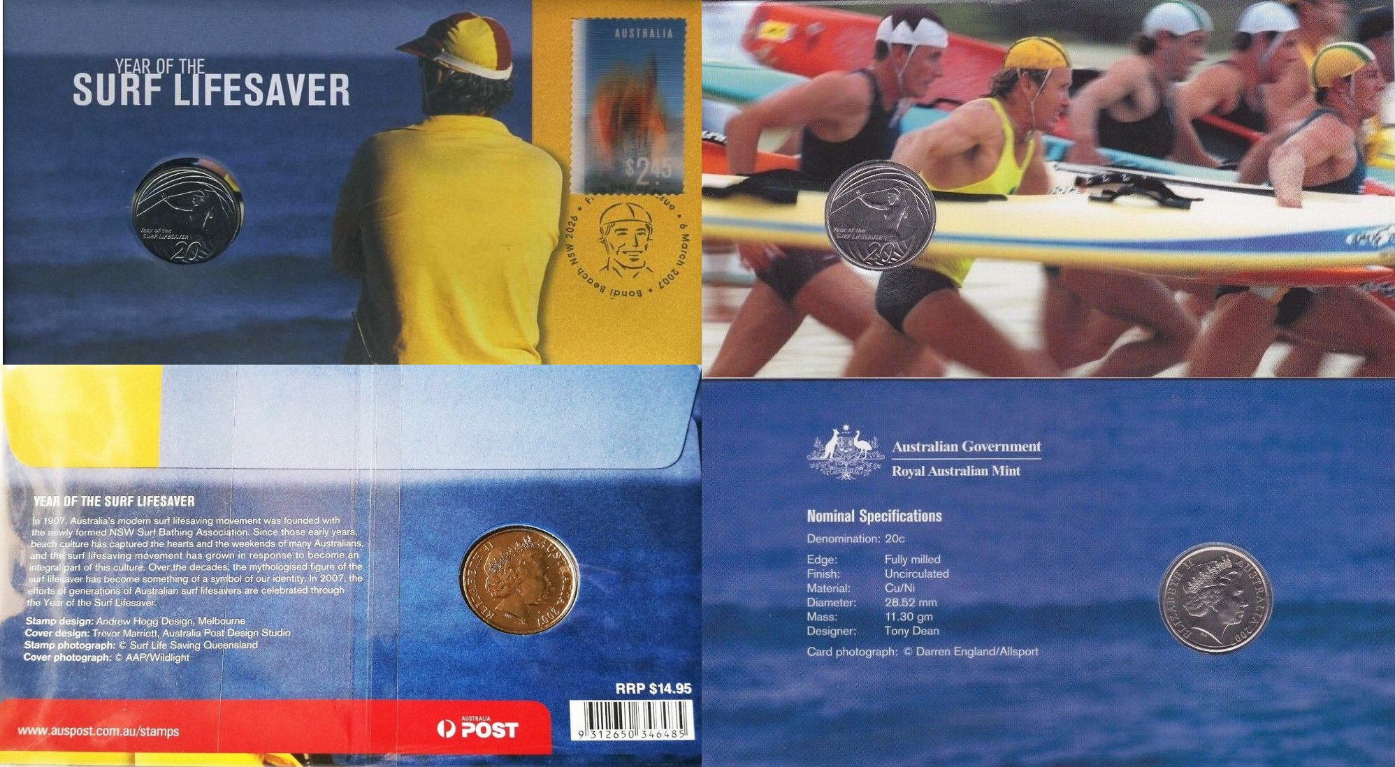 Australia 2007 Year of The Surf Lifesaver 20c Cents UNC Coin RAM in Capsule//Card