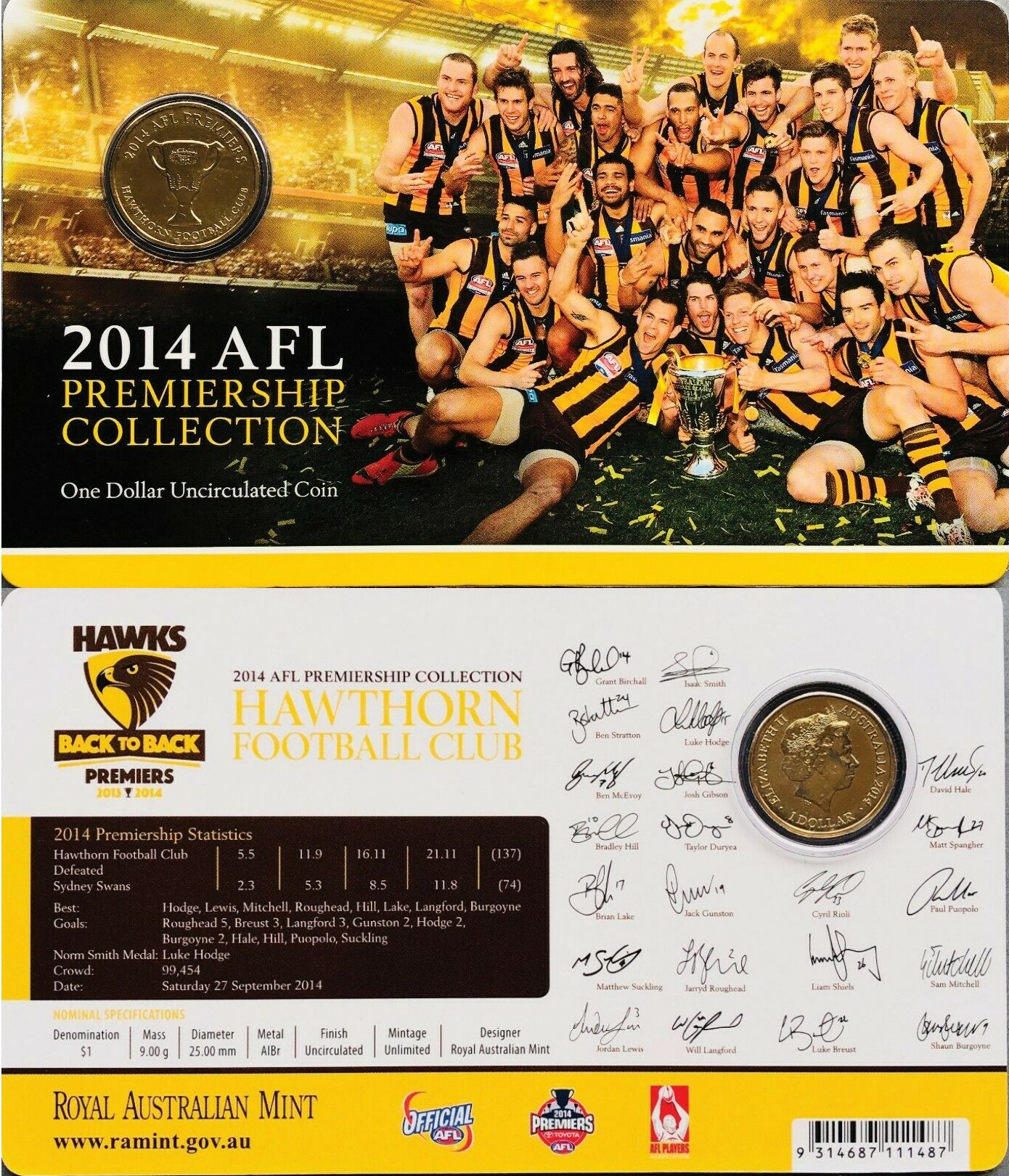 Sydney Swans Al-Bronze UNC 2012 AFL Premiers