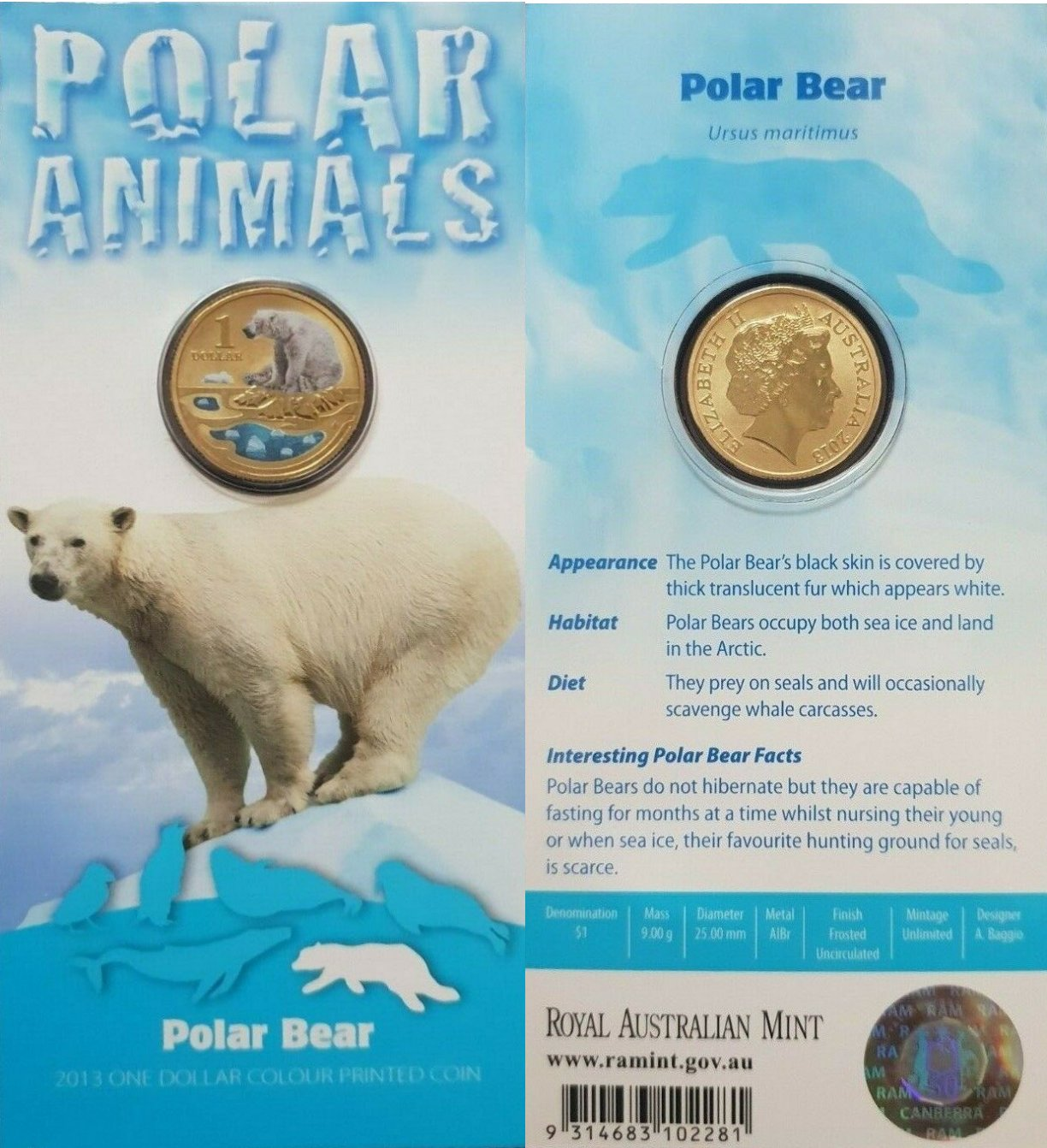 2013 $1 POLAR ANIMALS WALRUS Pad Printed Coin