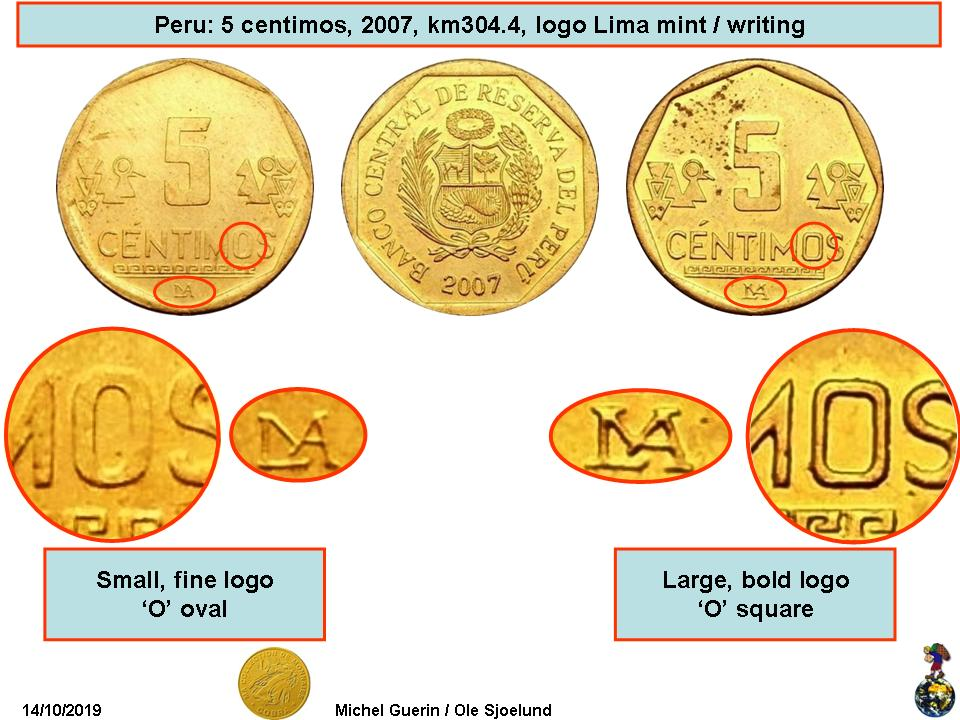 accent above National arms Peru 2016-10 Centimos Brass Coin