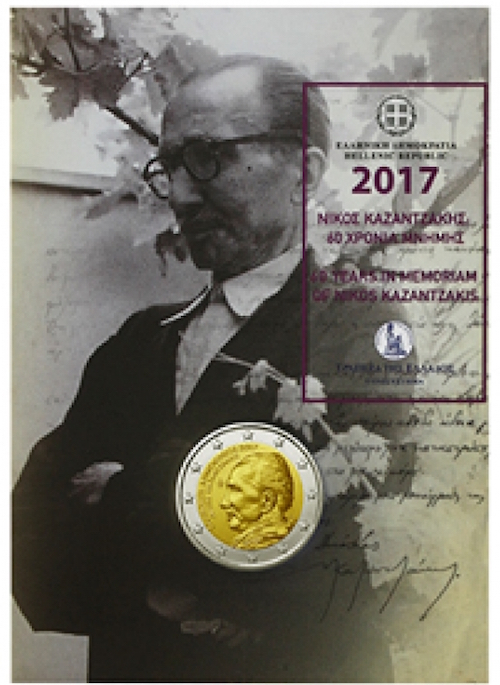 "2017 Greece 2 Euro Uncirculated Coin /""Nikos Kazantzakis 60 Years/"" Zorba Greek"