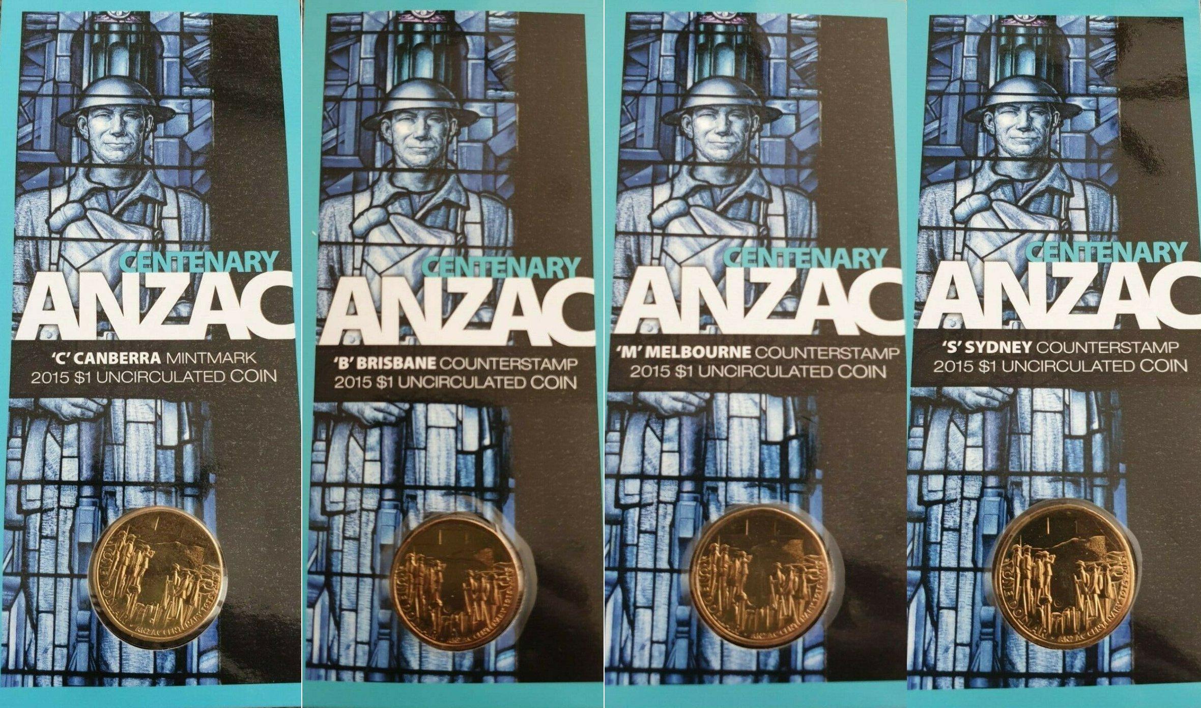 /'C/' Mintmark UNC rare Australia $1 One dollar coin 2015 CENTENARY ANZAC