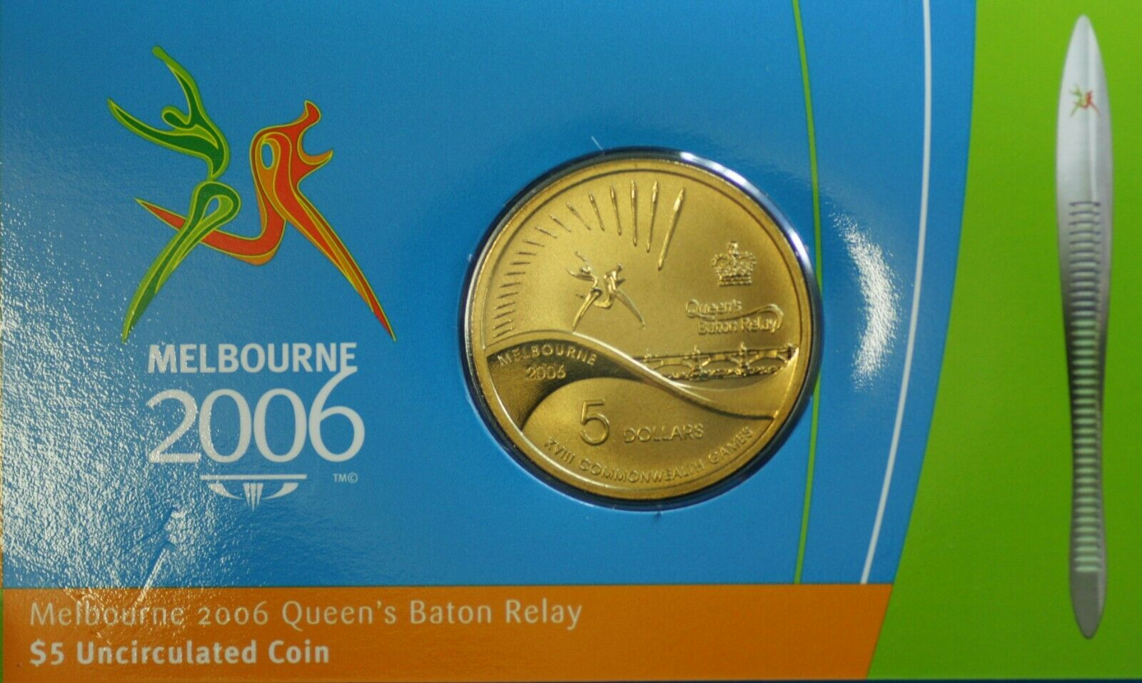 2006 $5 Silver Proof Coin Melbourne Commonwealth Games Queens Baton Relay