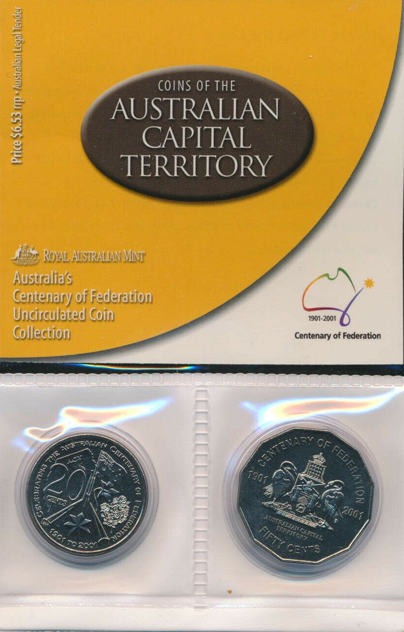 2001 50 Cent PROOF Federation Coin ex Set Australia Capital Territory ACT
