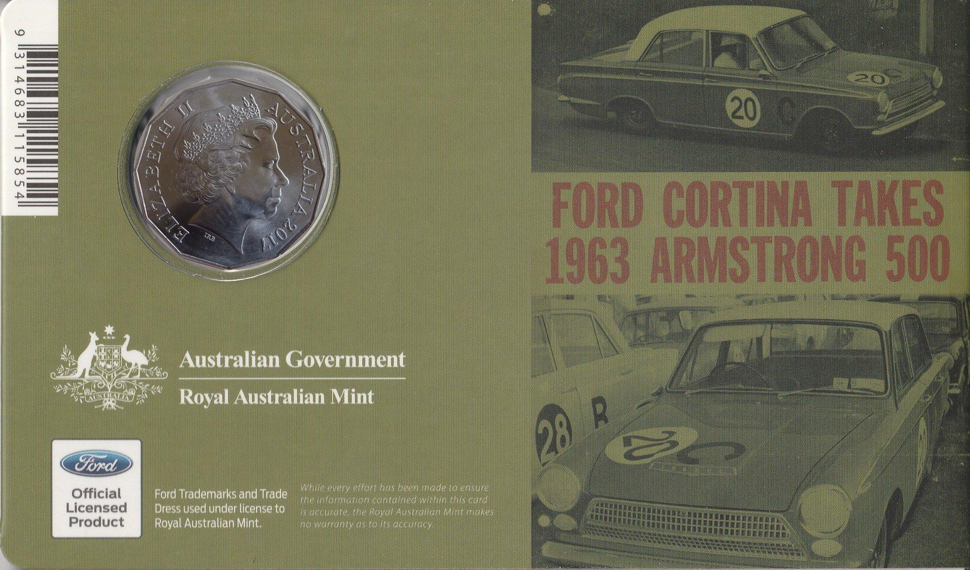 Australia 2017 Ford Classics 1965 Cortina MKI GT500 50c Cents UNC Coin Carded