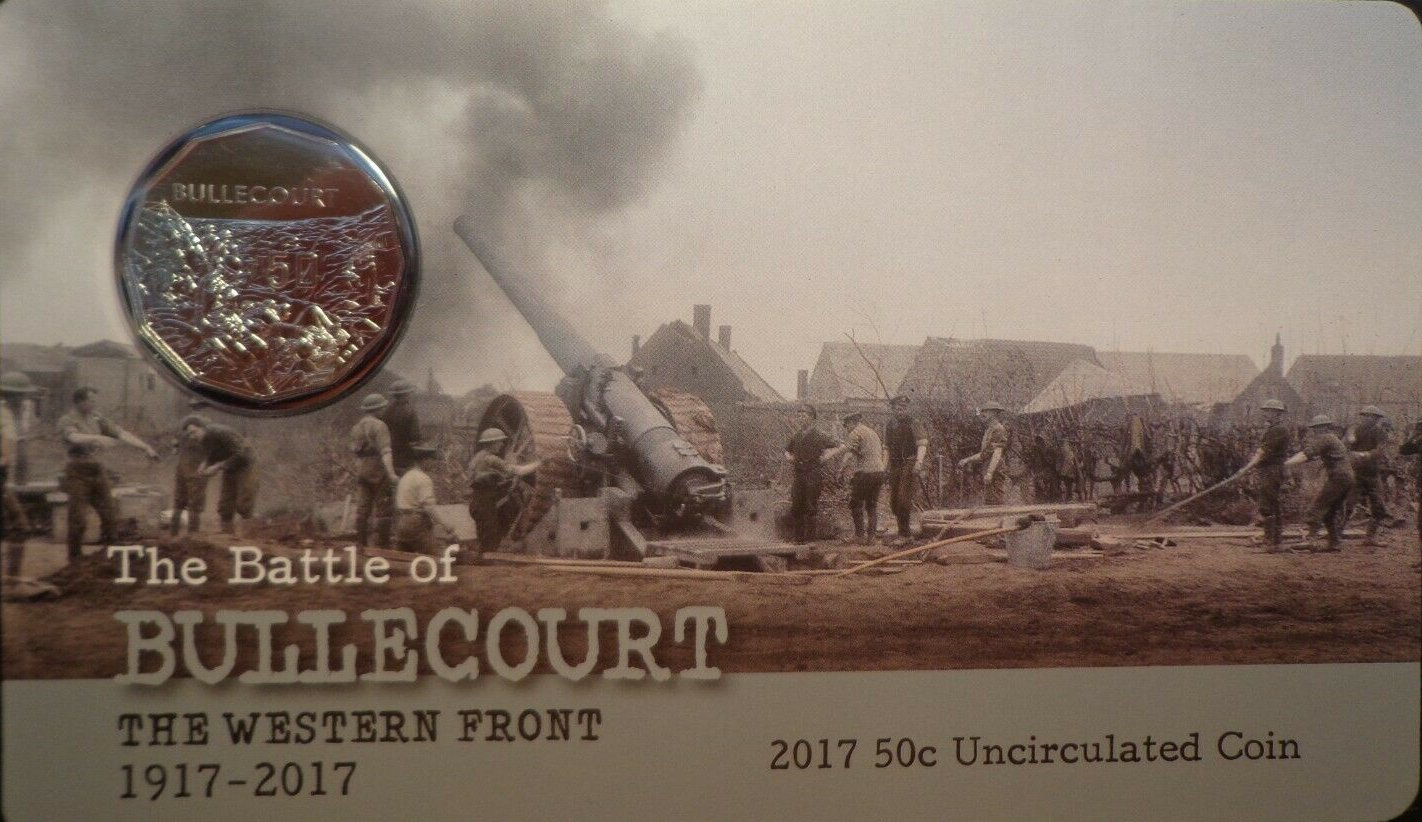 The battle of VILLERS-BRETONNEUX 2018 Australia Carded 50c Unc Coin
