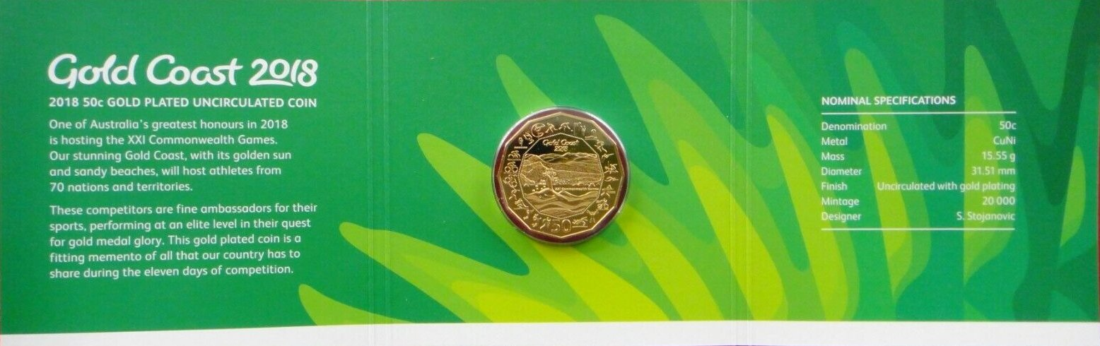 2 x 2018 50 cent uncirculated 50c Coat of Arms ex RAM bag in 2x2