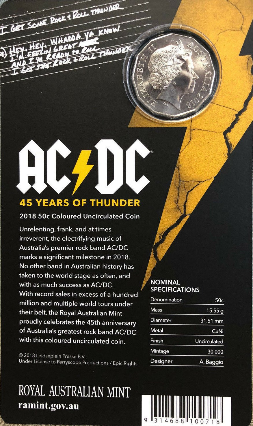 45 years of thunder 2018 50 Cents AC//DC Coin