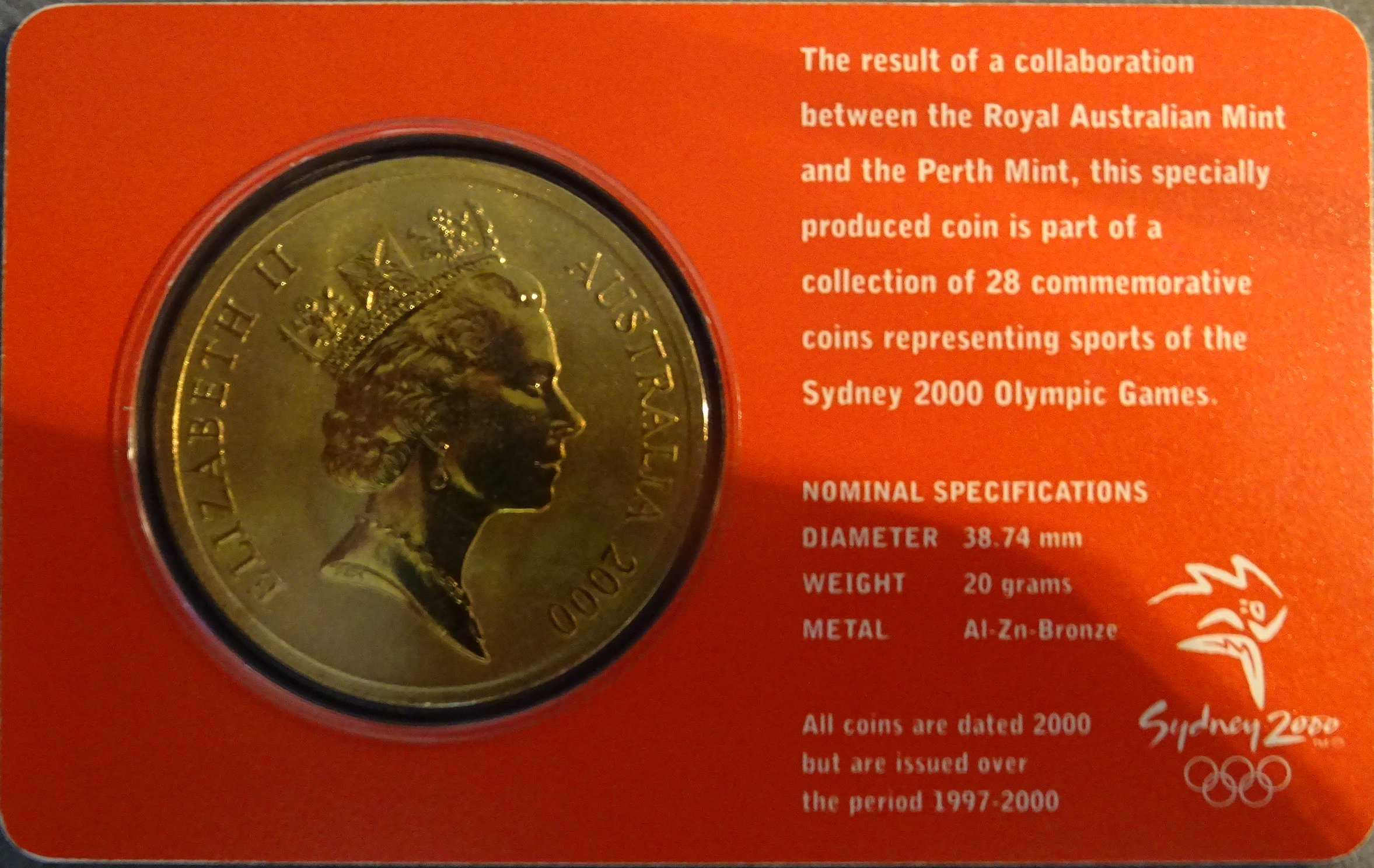 TABLE TENNIS 23//28 Sydney 2000 Olympic Coin Collection $5 UNC RAM Coin