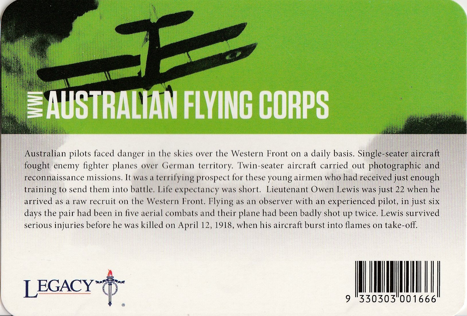 2015 Anzacs Remembered Coin Series Day 11 AUSTRALIAN FLYING CORPS 20c Coin