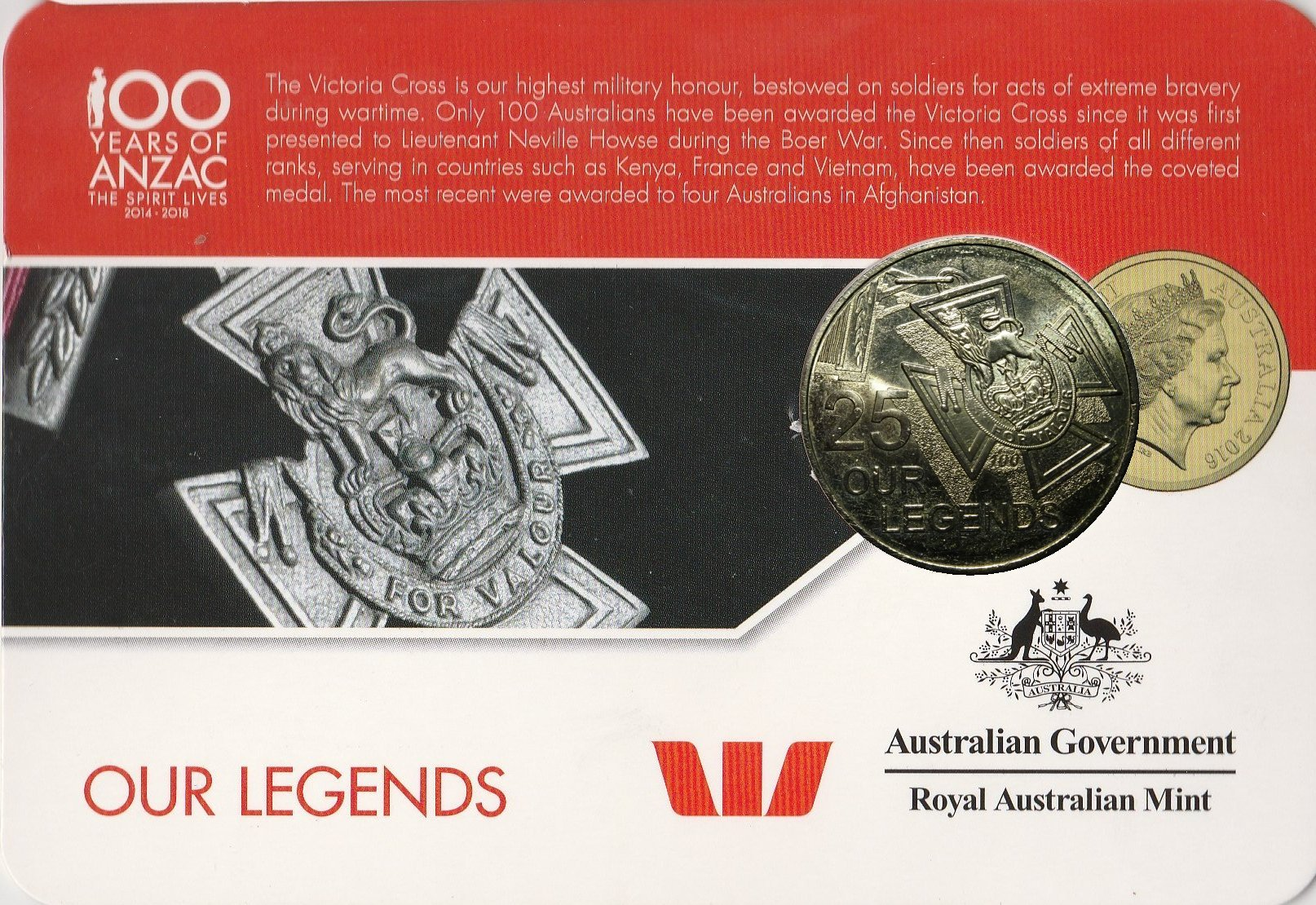 2016 25 Cent Coin BATTLE OF LONG TAN..The Spirit Lives 2014-2018 ANZAC Series.