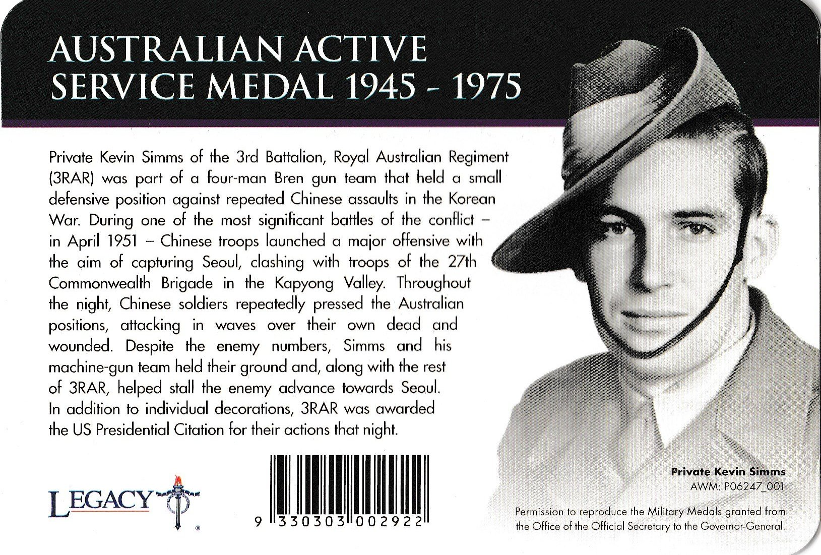 2017 20 Cent AUSTRALIAN ACTIVE SERVICE MEDAL 1945-1975 100 Yrs of ANZAC