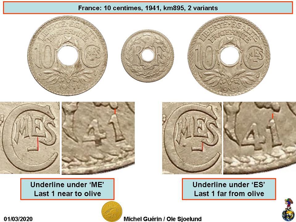FRANCE 1941 10 CENTIMES COIN 73b.1 { WW II }