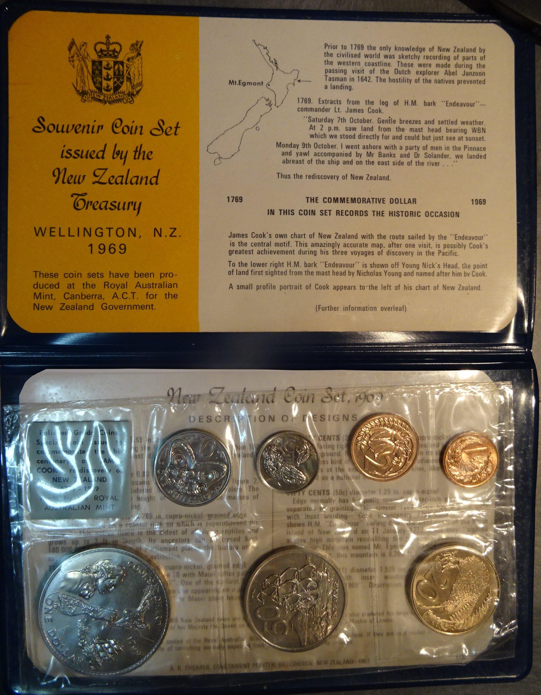 1969 Cook Commemorative Coin Issue Standard Specimen Set New Zealand