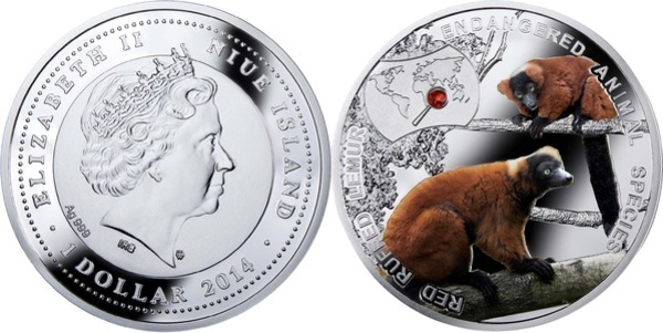 Endangered Animal Species 1//2 oz Proof Silver Coin 2014 Niue Red Ruffed Lemur