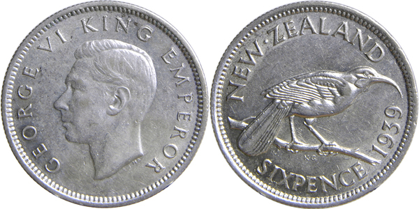 1 Coin Only 1936 New Zealand 6 Pence Silver! 16 Available! Circulated