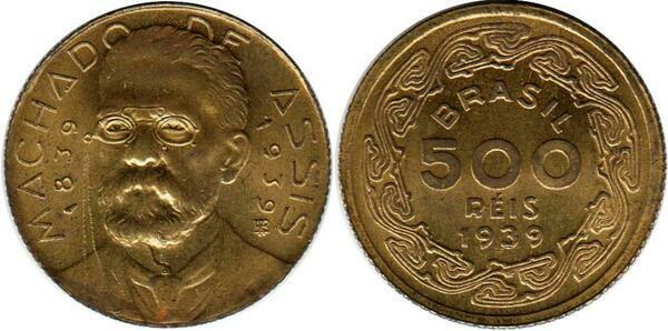 3 Three Brazil 1939 500 Reis Coins,Uncirculated KM549,Joaquim Machado de Assis