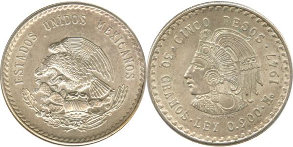 Mexico 5 Pesos 1948 Silver Coin .900 Silver AU //UNC!!!!!!!!!!!!