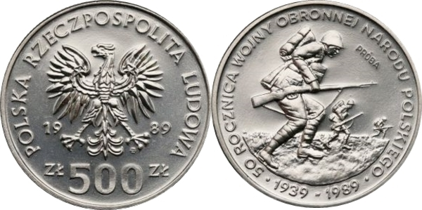 322//2881D102 Poland 500 Zlotych 1989 DEFENSIVE WAR OF POLISH NATION  SOLIDERS