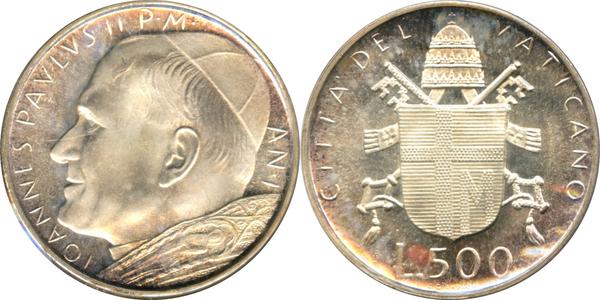 1980 Vatican Italy set 5 coins  lire 10//20//50//100//200 UNC John Paul II