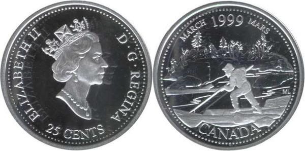 1999 Canada  Caribou Quarter 25 Cent Prooflike Scarce Not in Circulation