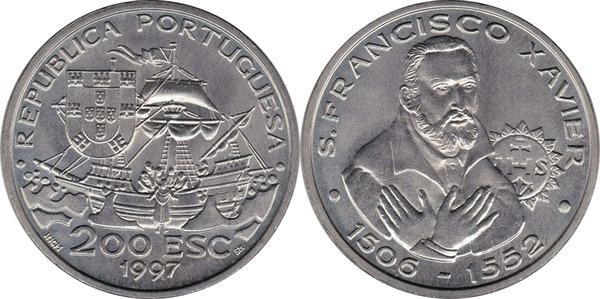 FRANCISCO XAVIER 1997 UNC PORTUGAL COMMEMORATIVE COIN 200 ESCUDOS ST
