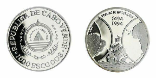 Cape Verde 1994 Sailing Ship Earth 1000 Escudos Silver Coin,UNC