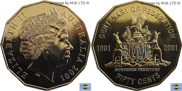 Unc 20c Coin 2001 Centenary of Federation Northern Territory NT