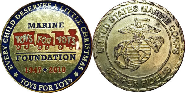 Marine Toys 4 Tots Foundation : Token marine corps toys for tots tokens numista