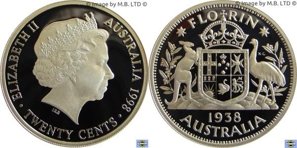1998 Australia 20c proof ex Masterpieces in Silver Set United Nations 20c