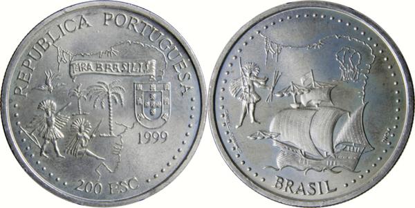 1999 PORTUGAL 200 Escudos BRAZIL// BRASIL UNC Coin pre euro G229